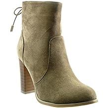 Angkorly - Zapatillas de Moda Botines low boots mujer nodo Talón Tacón ancho alto 9 CM - plantilla Forrada de Piel - Khaki