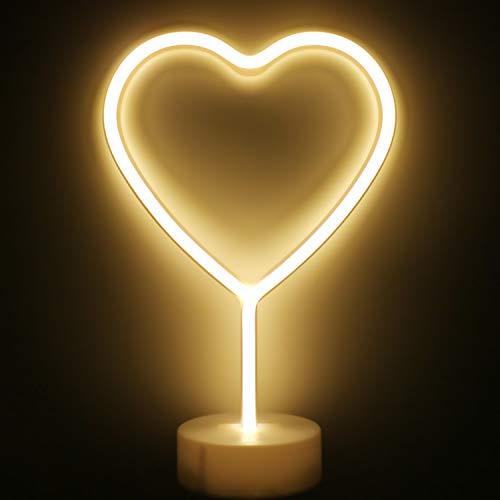 XIYUNTE Herz Neonlicht Zeichen - Leuchtreklame Herzlampen Raumdekor, Batteriebetriebene Nachtlichter mit Sockel, Warmes Weiß leuchten Kinderzimmer, Schlafzimmer, Widding, Party, Weihnachtsdekoration