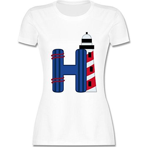 Anfangsbuchstaben - H Schifffahrt - tailliertes Premium T-Shirt mit Rundhalsausschnitt für Damen Weiß