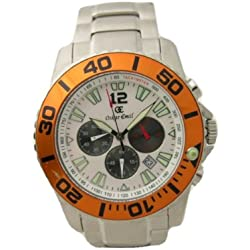 Oskar Emil Como Xxl Mens Chronograph Stainless Steel White Watch with Tachymeter And Date