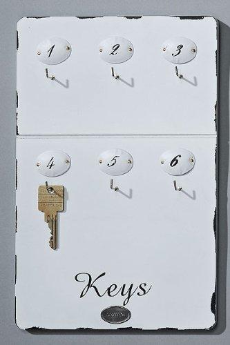 Unbekannt Schlüsselbrett Schlüsselleiste Holz weiß 'Keys' 6 Haken nummeriert 1-6