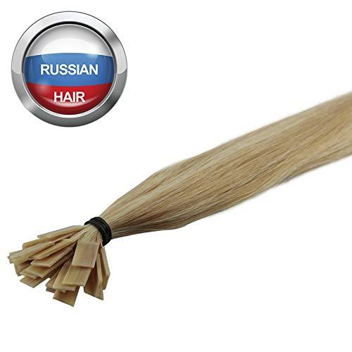 Extensions Cheveux Kératine 100 mèches russes 0,8gr Méché Blond Vénitien et Blond Platine 50cm