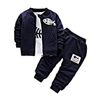 BINIDUCKLING Newborn Baby Boys Coat + Pants + Shirts Clothes Sets Toddlers Casual 3 Pieces Outfits