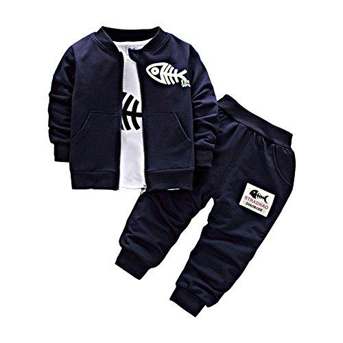 BINIDUCKLING Neonato Cappotto + Pantaloni Marina militare 3-4 Anni + Camicie Set da bambino Toddlers Casual 3 pezzi Abiti