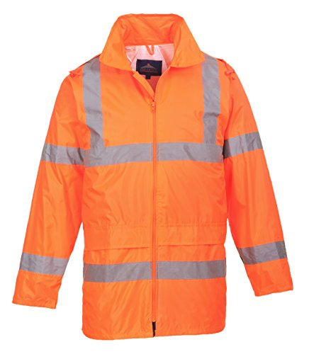 Portwest Waterproof Rain Jacket, Lightweight, Orange, Medium