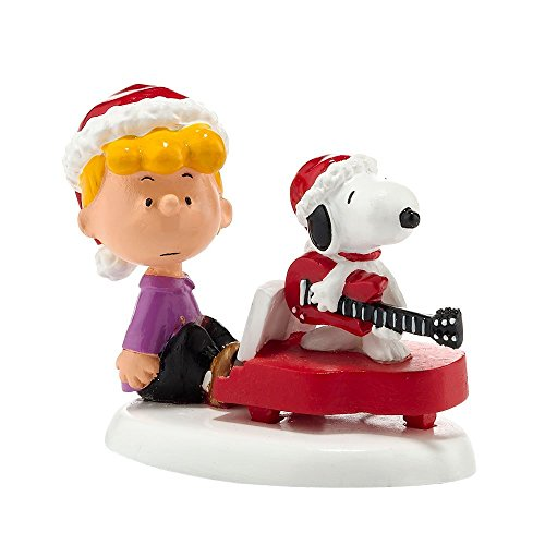 Department 56 Peanuts Village Schroeder/Snoopy's Christmas Decorative Accessory, 1.97-Inch (Village Christmas Peanuts)