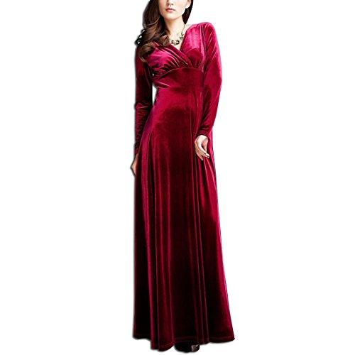 KAXIDY Femme Velours Robe Col V Manches longues Robe de Soirée Robe Longue Vin-rouge