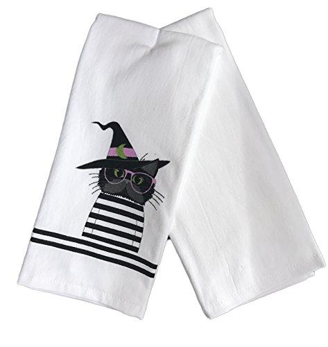 Heiligtümer des Eve Schwarz Katze in Kostüm Hexe mit Gläser Set von Zwei Weiß Küche Handtücher Halloween Themed