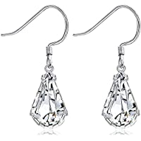 Sllaiss Made with Swarovski Crystals Teardrop Dangle Earrings for Women 925 Sterling Silver French Hook Earrings Hypoallergenic Jewelry Gift