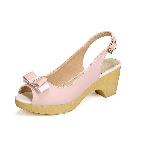 VogueZone009 Damen Gemischte Farbe Pu Leder Mittler Absatz Fischkopf Schuhe Schnalle Sandalen Pink