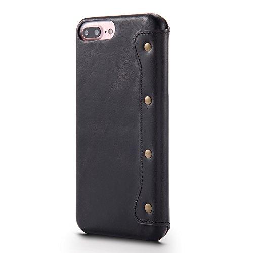 IPhone 8 plus Hülle, iPhone 7 plus Hülle, Aomo Retro Genuine Leder Material [Card Holder] [Vintage Classic Series] [alle rund um Schutz] Retro leather protective Phone Hülle Cover für iPhone 7 plus 20 SchwarzNPSH