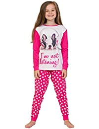 ThePyjamaFactory Girl's Long Pyjamas French Bulldog Girl Teen Pj 9 to 14 Years