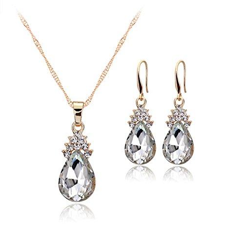 Demarkt Mode Schmuck Sets Halskette Ohrringe Set Brautschmuck Wassertropfenform Silberfarbe (Weiß)