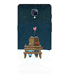 For OnePlus 3 :: OnePlus Three :: One Plus 3 couple, heart, pink heart, couple sitting on bench Designer Printed High Quality Smooth Matte Protective Mobile Case Back Pouch Cover by APEX