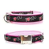 Hundehalsband - I love you - Rosa, wahlweise mit Gravur, Unterfütterung und weiteren Extras