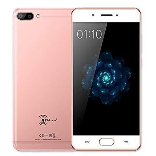 KENXINDA X6 4G Teléfonos, Android 7.0 Smartphone móvil Libre (5.0 Pulgadas HD, MTK6737 Quad-Core 1.3GHz, 13+8+8MP Cámara, 3GB RAM + 32GB ROM, Batería con 3500mAh Mobile) Oro Rosa