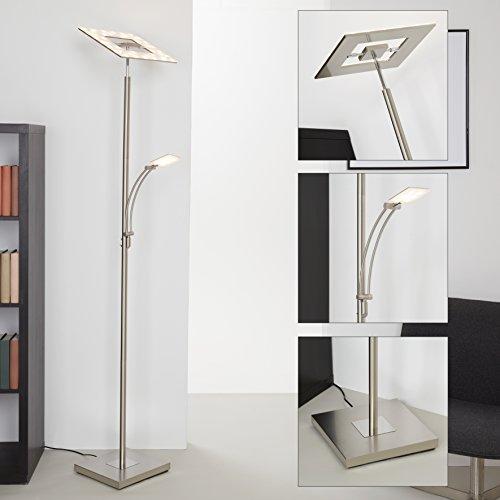 Briloner Leuchten 1325-022, LED Stehlampe dimmbar, Stehleuchte, schwenkbarer Fluter-Kopf inkl. Touchdimmer, Wohnzimmerlampe mit Leselampe 21 W + 3.5 W, Form: eckig, Metall, matt-nickel, 28 x 28x180cm
