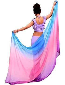 Chal de danza del vientre Moresave, para mujer, velo de gasa, 220cm x 120cm, mujer, Blue+Rose+Purple, talla...