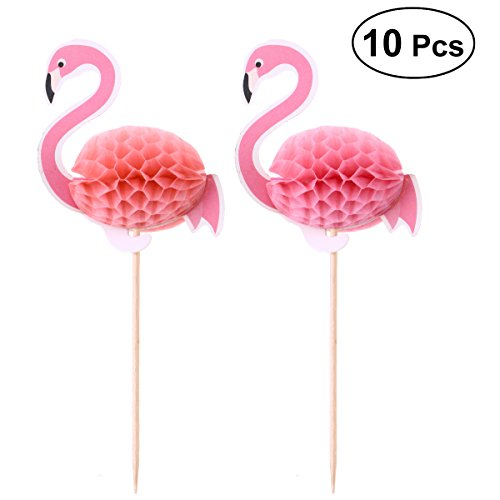LUOEM Flamingo Kuchen Cupcake Topper Picks Sommer Tropical Kuchen Dekoration für Hawaiian Luau Party Supplies 10 STÜCKE