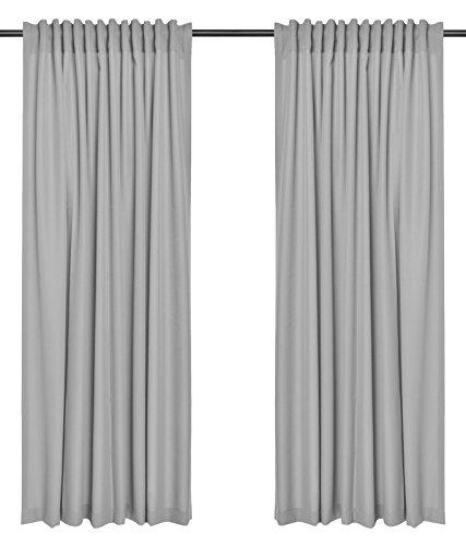 2er Set einfarbige Verdunkelungsvorhänge Blickdicht Gardinen (RENO Grau 51, 140×150 cm – BxH) verdunkelung Vorhang Gardine mit Tunnelband, 2 Stück lichtundurchlässig Vorhänge für Wohnzimmer Schlafzimmer Kinderzimmer - 2