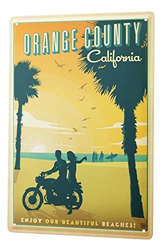 Blechschild Welt Reise Orange County California Wand Deko Schild 20X30 cm -