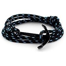 Pulsera hombre Tendance ancla yunque negro azul regulable Neuf