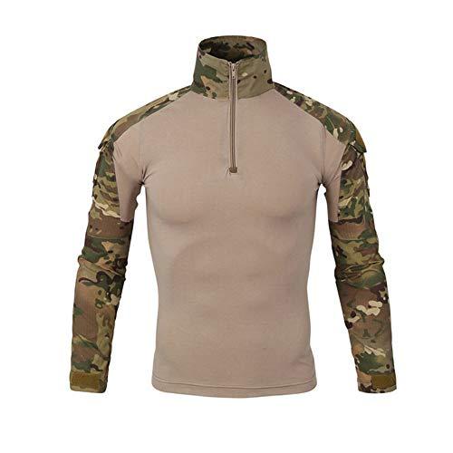 Rera Herren Militär Tarnung Langarmshirt Radfahren Kriegsspiel Kleidung Kampf Taktisch Uniform Military Camouflage T-Shirt mit Reißverschluss -