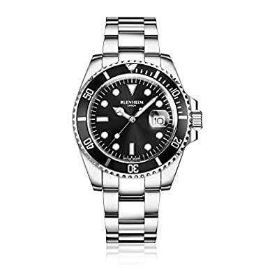 Blenheim London® Reloj Navigator Luminous de hombre, Cristal de Zafiro, Resistente al Agua, Esfera Negra.