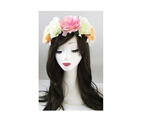 Grande Rose Pêche Blanc Rose Fleur Bandeau Coiffe Big Guirlande Festival w68 * * * * * * * * exclusivement vendu par – Beauté * * * * * * * *