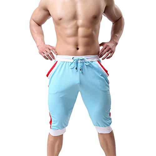 Mens Pants Weiche und Bequeme elastische Kordelzug elastische Taille Bodybuilding Fitness-Studios männliche Workout kurz mit Tasche -