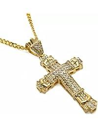 7894a474c51a Vonchic - Collier chaîne avec pendentif en forme de croix dorée - Pour  homme - Avec