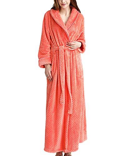 Mujer Kimono,Batas Hombre Albornoz Unisex Waffle Baño Toallas Ducha Larga Suave Comodo con Cintura Naranja M