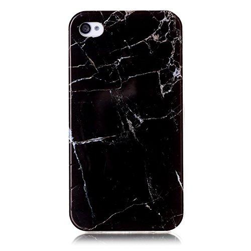 "Coque iPhone 4s, SsHhUu Ultra Mince [Marbre Pattern] Flexible Caoutchouc Doux TPU Skin Case Bumper Silicone Gel Anti-Scratch Cover pour Apple iPhone 4s / iPhone 4 (3.5"") Noir Noir"