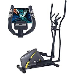 ISE Vélo d'Appartement Vélo Elliptique Magnétique Cross Trainer pour la Maison avec Capteur de Pouls,8 Niveaux de résistance,Ecran LCD,Max.110kg,SY-9802