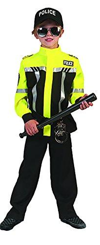 Confettery - Polizei Kostüm mit leuchtender Jacke für Kinder, 128-134, 8-9 Jahre, ()