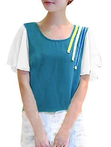 Femme Encolure dégagée en mousseline de soie Manches courtes bicolore à manches longues chauve-souris Vert Foncé