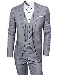 Primeday Costume homme Un Boutons Mode Slim fit Trois Pièces Elégant Business Mariage