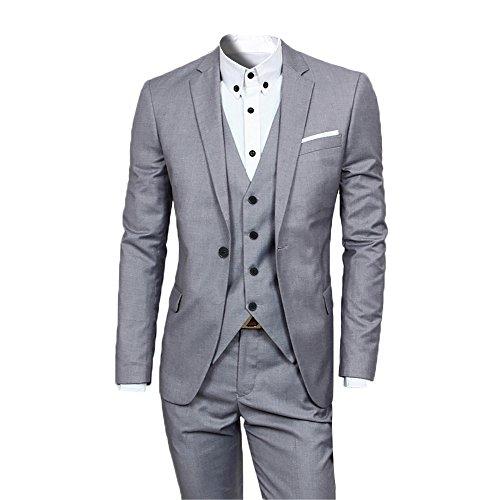 Herren Anzug Regular Fit Business Anzüge 3-Teilig Anzugjacke Anzughose Weste