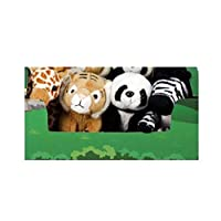 Plush Set Of 4 Cuddly Soft Safari Animals Tiger, Zebra, Panda & Giraffe