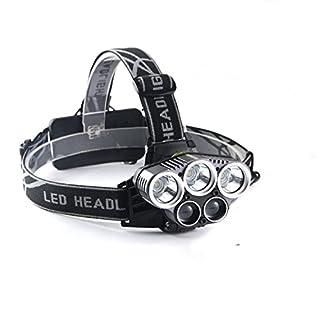 BLUECBG LED-Stirnlampe, wiederaufladbar, superhell, mit USB wiederaufladbaren Akkus, 6 Modi, wasserdicht, Scheinwerfer, Angeln, Camping, Laufen, Radfahren, Wandern, Jagd