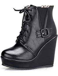 739586fb8a3 FCXBQ Botas Cortas De Cuña, Tacones Altos Botines Plataforma Impermeable  Cordones Botas Bajas Cabeza Redonda Martin Zapatos para…
