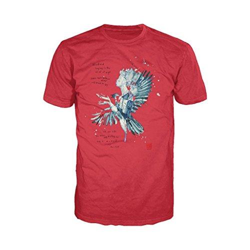Beatles David Mack Blackbird Official Men's T-Shirt (Red) (Medium) -