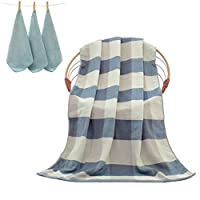 Uniui 70x140cm Extra Large 100% Cotton Blue Checkered Bath Towels Set with 3 Piece Small Hand Towels - Ideal Blanket for Household Bathroom/Sports/Gym/Travelling/Sauna/Beach/Swimming/Camping (Check Blue)