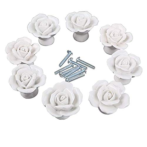 GIVBRO Lot de 8 Boutons de Porte à vis pour Cuisine, Style Moderne, Motif Floral, Blanc