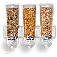 SaleemSpace - Dispensador / unidad de almacenamiento triple de cereales y alimentos secos, para montar en la pared