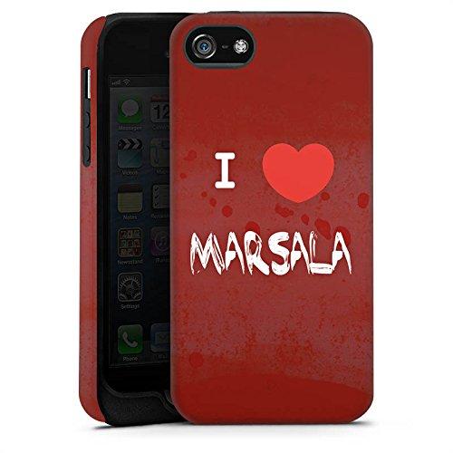 Apple iPhone X Silikon Hülle Case Schutzhülle I love Marsala Herz Spruch Tough Case matt