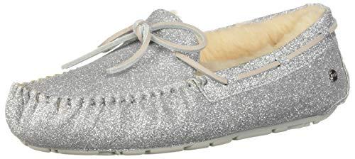 UGG Australia Frauen Dakota Sparkle Geschlossener Zeh Slip On Leder Hausschuhe Silber Groesse 8 US /39 EU (Größe Uggs 8 Frauen)