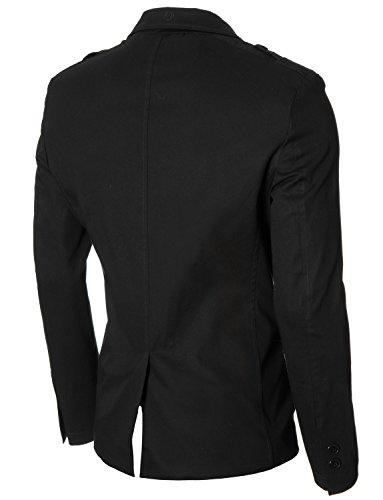 MODERNO - Slim Fit Veston Blazer Homme (MOD14518B) Noir