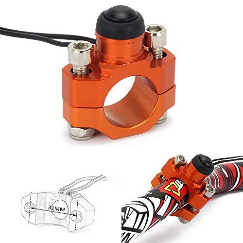 Jfgracing CNC universale moto motore avviamento stop Kill switch pulsante con piastra di montaggio per 7/20,3cm manubrio K.T.M SX EXC Xcf Duke LC4Superduke Smr SMC-arancio