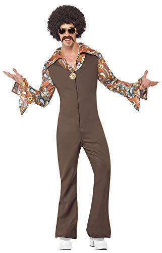 Smiffys, Herren Groovy Boogie Kostüm, Jumpsuit mit angesetztem Hemd,Größe: L, 43860